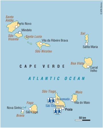 Cape Verde Islands Africa Map