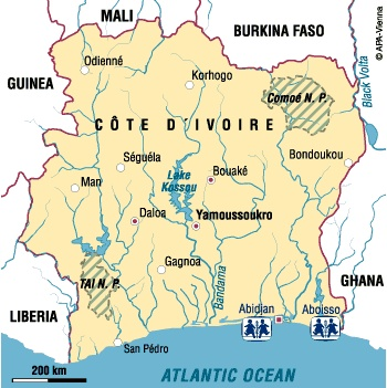 map of ivory coast. SOS Children in Ivory Coast