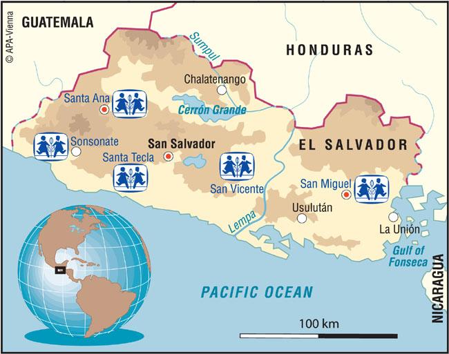 El salvador charity sponsor a child in el salvador country map sos children sponsorship locations in el salvador gumiabroncs Gallery
