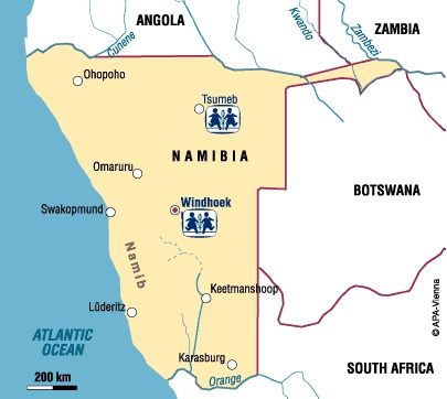 Southwest Africa Map.Namibia Charity Sponsor A Child In Namibia